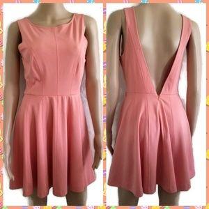 Forever 21 Peach V open Back Dress Size M